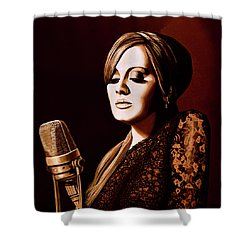 Adele Skyfall Gold Shower Curtain by Paul Meijering