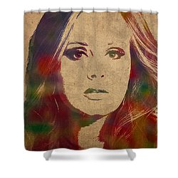 Adele Watercolor Portrait Shower Curtain