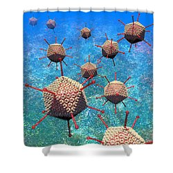 Adenovirus Particles 3 Shower Curtain