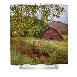Adirondack Barn In Autumn Shower Curtain