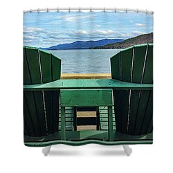 Shower Curtain featuring the photograph Adirondack Chair For Two by Kendall McKernon