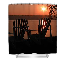 Adirondack Chairs-1 Shower Curtain by Michael Mooney