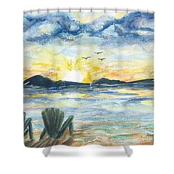 Shower Curtain featuring the painting Adirondack Chairs With A View by Reed Novotny