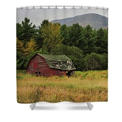 Adirondacks Barn In Autumn Shower Curtain