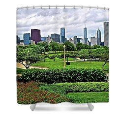Shower Curtain featuring the photograph Adler Planetarium View Of Chicago by Frozen in Time Fine Art Photography