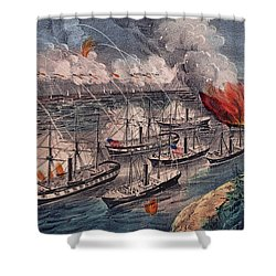 Admiral Farragut's Fleet Engaging The Rebel Batteries At Port Hudson Shower Curtain by American School