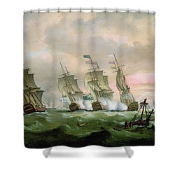 Admiral Sir Edward Hawke Defeating Admiral De Conflans In The Bay Of Biscay Shower Curtain by Thomas Luny