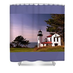 Admiralty Head Lighthouse On Whidbey Island, Washington State, Usa Shower Curtain by Greg Sigrist