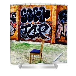 Admiring Barcelona Graffiti Wall Shower Curtain