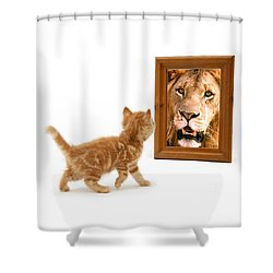 Admiring The Lion Within Shower Curtain