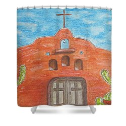 Adobe Church And Cactus Shower Curtain