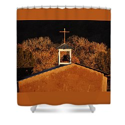 Adobe Church At San Ildefonso Pueblo In Northern New Mexico Shower Curtain