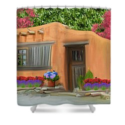 Adobe Home Shower Curtain by Walter Colvin