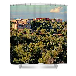 Shower Curtain featuring the photograph Adobe Homestead Santa Fe by Diana Mary Sharpton