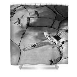 Shower Curtain featuring the photograph Adolf Galland Attacking Spitfire Bw Version by Gary Eason