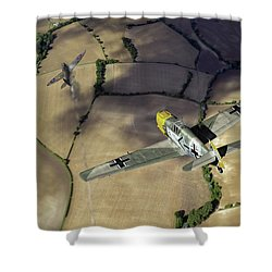 Shower Curtain featuring the photograph Adolf Galland Attacking Spitfire by Gary Eason