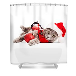 Adorable Christmas Kitten Over White Shower Curtain
