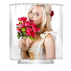 Adorable Florist Woman Smelling Red Flowers Shower Curtain by Jorgo Photography - Wall Art Gallery