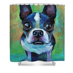 Adorable Boston Terrier Dog Shower Curtain by Svetlana Novikova