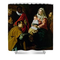 Adoration Of The Kings Shower Curtain by Diego rodriguez de silva y Velazquez