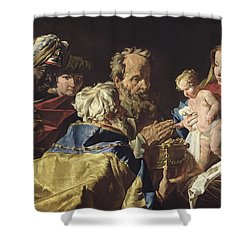 Adoration Of The Magi  Shower Curtain by Matthias Stomer