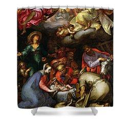 Adoration Of The Shepherds Shower Curtain by Abraham Bloemaert