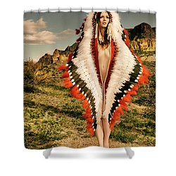 Adorned Feathered Nude Shower Curtain