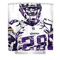 Shower Curtain featuring the mixed media Adrian Peterson Minnesota Vikings Pixel Art 2 by Joe Hamilton