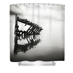 Adrift At Sea In Black And White Shower Curtain by Eduard Moldoveanu