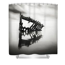 Adrift At Sea Monochromatic Square Shower Curtain