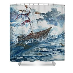 Shower Curtain featuring the painting Adrift At Sea by Reed Novotny