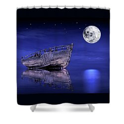 Shower Curtain featuring the photograph Adrift In The Moonlight - Old Fishing Boat by Gill Billington