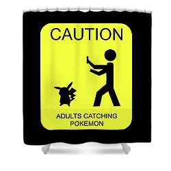 Shower Curtain featuring the digital art Adults Catching Pokemon 1 by Shane Bechler