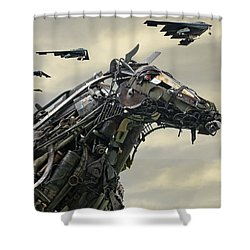 Advance Of The Machines Shower Curtain by Christopher McKenzie