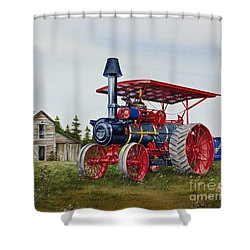 Shower Curtain featuring the painting Advance Rumely Steam Traction Engine by James Williamson