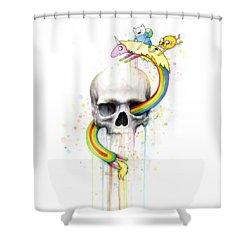 Adventure Time Skull Jake Finn Lady Rainicorn Watercolor Shower Curtain by Olga Shvartsur
