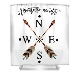 Shower Curtain featuring the digital art Adventure Waits Typography Arrows Compass Cardinal Directions by Georgeta Blanaru
