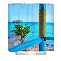 Aegean Blue Shower Curtain by Andreas Thust