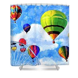 Shower Curtain featuring the mixed media Aerial Birth by Mark Tisdale