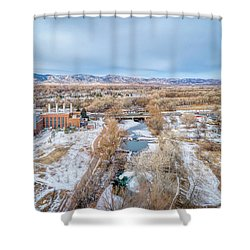 aerial cityscape of Fort Collins Shower Curtain