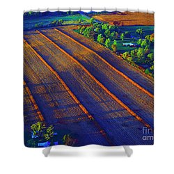 Aerial Farm Field Harvested At Sunset Shower Curtain