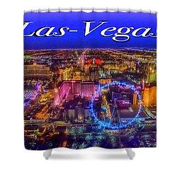 Aerial Las- Vegas Evening Shower Curtain