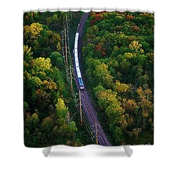 Aerial Of  Commuter Train  Shower Curtain