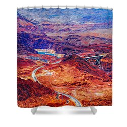 Aerial Of Hoover Dam And Bypass Bridge Shower Curtain