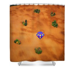 Aerial Of Hot Air Balloon Above Tilled Field Fall Shower Curtain