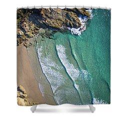 Aerial Shot Of Honeymoon Bay On Moreton Island Shower Curtain