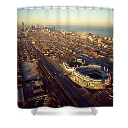 Aerial View Of A City, Old Comiskey Shower Curtain by Panoramic Images