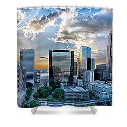Aerial View Of Charlotte City Skyline At Sunset Shower Curtain by Alex Grichenko
