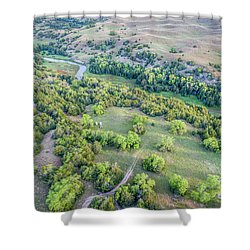 aerial view of Dismal River in Nebraska Sandhills Shower Curtain