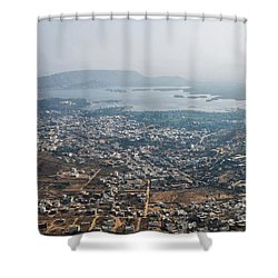 Shower Curtain featuring the photograph Aeriel View Of Udaipur From Monsoon Palace by Yew Kwang